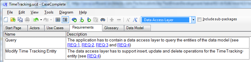 Data access layer requirements