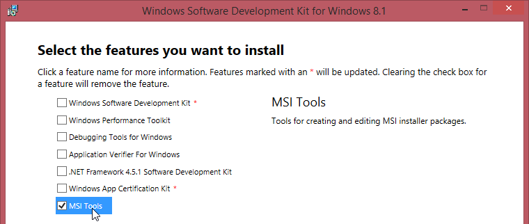 And you could install the Universal Windows App Development Tools, Tools  and Windows SDK 10.0.10240 from this modify window.