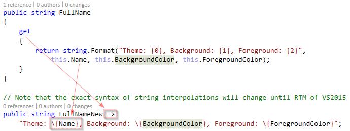 string interpolation c#